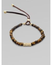 Michael Kors - Metallic Stone & Leather Accented Textured Bead Stretch Bracelet - Lyst