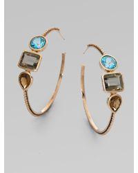 Stephen Dweck | Metallic Blue Topaz, Smoky Topaz and Cognac Quartz Hoop Earrings | Lyst