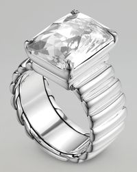 John Hardy | Metallic Wide Band Ring, White Topaz | Lyst