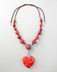 Lanvin | Red Heart Pendant Necklace, 50l | Lyst