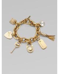 Michael Kors | Metallic Stone Accented Charm Bracelet | Lyst