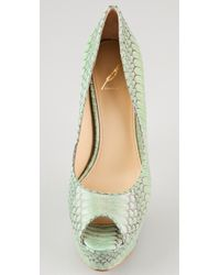 B Brian Atwood | Green Bambola Snake Pumps | Lyst