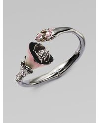 Alexis Bittar | Metallic Swarovski Crystal Accented Floral Bangle Braceletgunmetal | Lyst