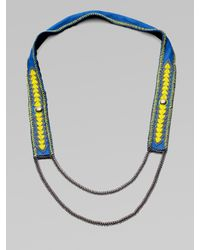 Fiona Paxton | Blue Beaded Leather and Chain Necklace | Lyst
