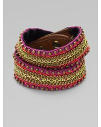 Fiona Paxton - Purple Leather Chain and Bead Wrap Bracelet - Lyst