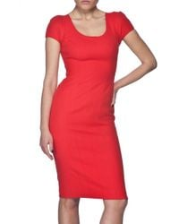 Narciso Rodriguez | Red Cap Sleeve Dress | Lyst