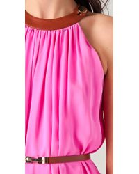 Raoul - Pink Belted Cascading Gown - Lyst