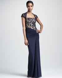 Tadashi Shoji | Blue Square-neck Lace Gown | Lyst