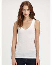 James Perse - White Rib Tank - Lyst
