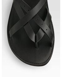 Versace   Black Leather Sandals for Men   Lyst