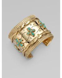 Aurelie Bidermann - Metallic Turquoise Accented Cuff Bracelet - Lyst
