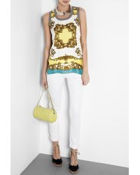Dolce & Gabbana | Yellow Scarf Print Jersey Tank | Lyst