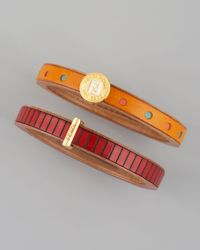 Fendi | Multicolor Set of Two Leather Bangles | Lyst