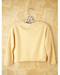 Free People - Yellow Vintage Cropped Sweater - Lyst