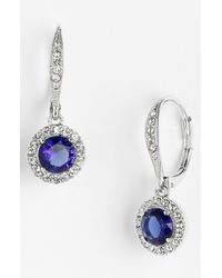 Nadri | Blue Cubic Zirconia Drop Earrings | Lyst