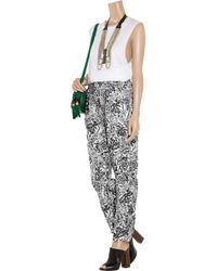 Seventh Wonderland | Black Estelle Floral-Print Silk-twill Pants | Lyst