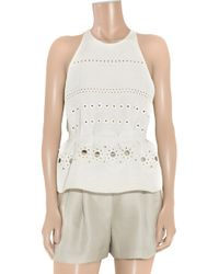 3.1 Phillip Lim - White Eyelet-embroidered Silk and Cotton-blend Peplum Top - Lyst