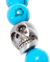 Simon Carter - Blue Beaded Skull Bracelet for Men - Lyst