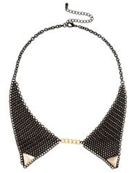 ASOS | Black Mesh Gold Tipped Collar Necklace | Lyst