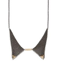 ASOS - Black Mesh Gold Tipped Collar Necklace - Lyst