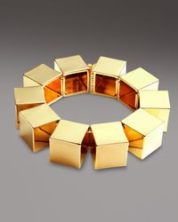 Eddie Borgo | Metallic Smooth Cube Bracelet Gold | Lyst