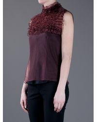 Marc Jacobs | Purple Sleeveless Ruffled Top | Lyst