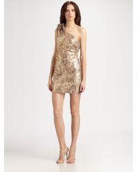 Badgley Mischka - Metallic Asymmetrical Sequined Dress - Lyst