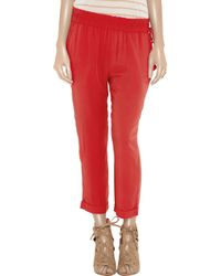 Elizabeth and James - Red Sloan Cropped Brushed-twill Pants - Lyst