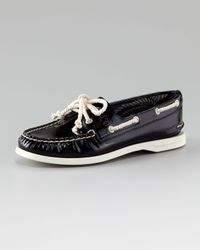 Sperry Top-Sider | Black Authentic Patent Leather Boat Shoe | Lyst