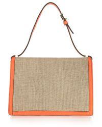 Victoria Beckham Natural Leather and Canvas Shoulder Bag