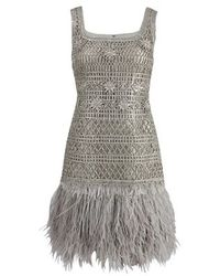 Oscar de la Renta | Silver Sleeveless Lame Dress with Feather Hem | Lyst