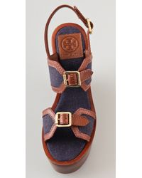 Tory Burch - Brown Sandals Florian Wedge - Lyst