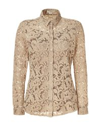 Burberry | Beige Nude Lace Top with Silk Cami | Lyst
