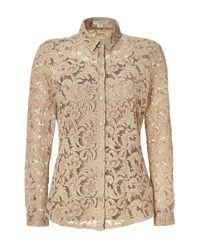 Burberry - Natural Nude Lace Top with Silk Cami - Lyst