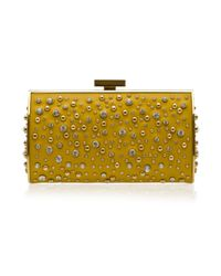 Elie Saab | Gold Structured Leather and Crystal Clutch | Lyst
