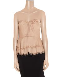Rebecca Taylor - Pink Tiered Satin Strapless Top - Lyst