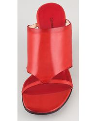 CoSTUME NATIONAL - Red Open Toe Wooden Wedge Sandals - Lyst