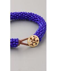 Tory Burch | Blue Logo Beaded Bracelet | Lyst