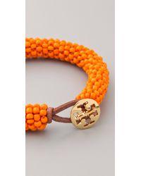 Tory Burch - Orange Logo Beaded Bracelet - Lyst