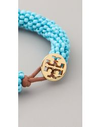 Tory Burch | Blue Logo Beaded Bracelet | Lyst