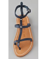 K. Jacques - Blue Gina Flat Sandals with Two Bands - Lyst