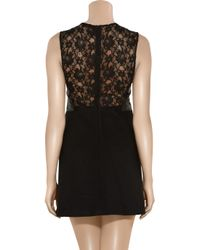 Maje - Black Leather and Lace A-line Dress - Lyst