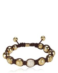 Shamballa Jewels - Brown White Diamond Pave and Gold Bracelet - Lyst
