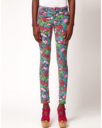 ASOS - Multicolor Skinny Jean In Jungle Hibiscus Print - Lyst