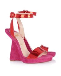 Christian Louboutin | Pink Djaldos 120 Leather And Suede Wedge Sandals | Lyst