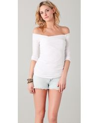 James Perse - White Off Shoulder Top - Lyst