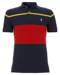 Polo Ralph Lauren | Blue Stripe Mesh Polo Shirt for Men | Lyst