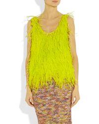 Oscar de la Renta   Yellow Feathered Silk Top   Lyst