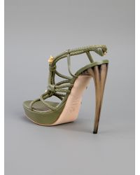 Alexander McQueen   Green Leather Knotted Heel   Lyst