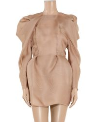 Lanvin - Pink Pleated Silk-gazar Dress - Lyst